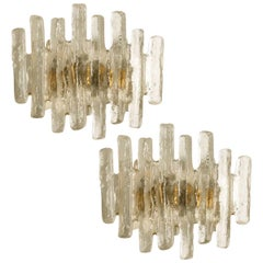 Pair of Glass Wall Sconces by J.T. Kalmar, Austria