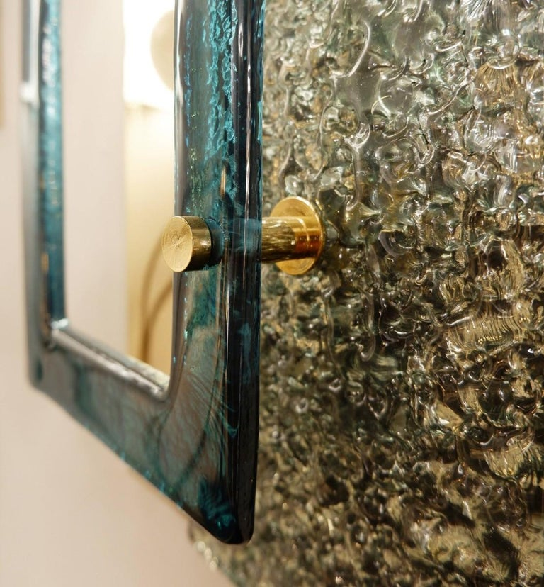 Mid-Century Modern Pair of Glass Wall Sconces, Italy For Sale