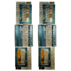 Pair of Glass Wall Sconces, Italy