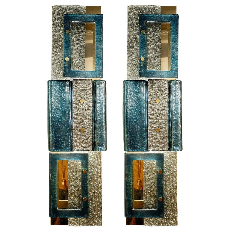 Pair of Glass Wall Sconces, Italy For Sale
