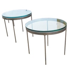 Ben Mildwoff Art Deco Bent Glass Side Tables Pair For