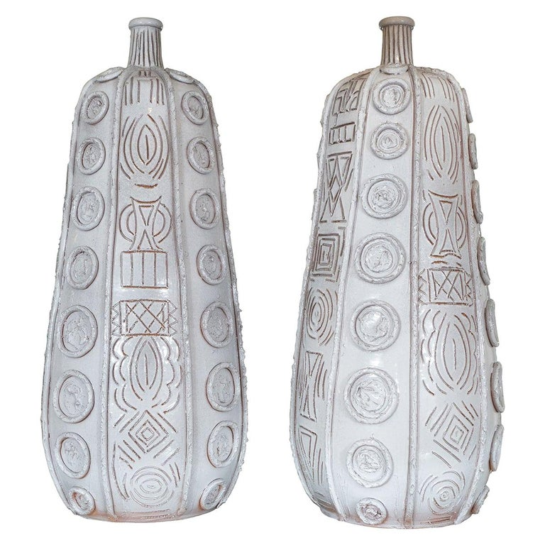 Pair of Glazed and Incised Terracotta Tall Vases
