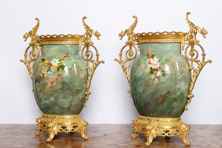 French Pair of Glazed Ceramic and Gilt Bronze Vases, France, Late 19th Century For Sale