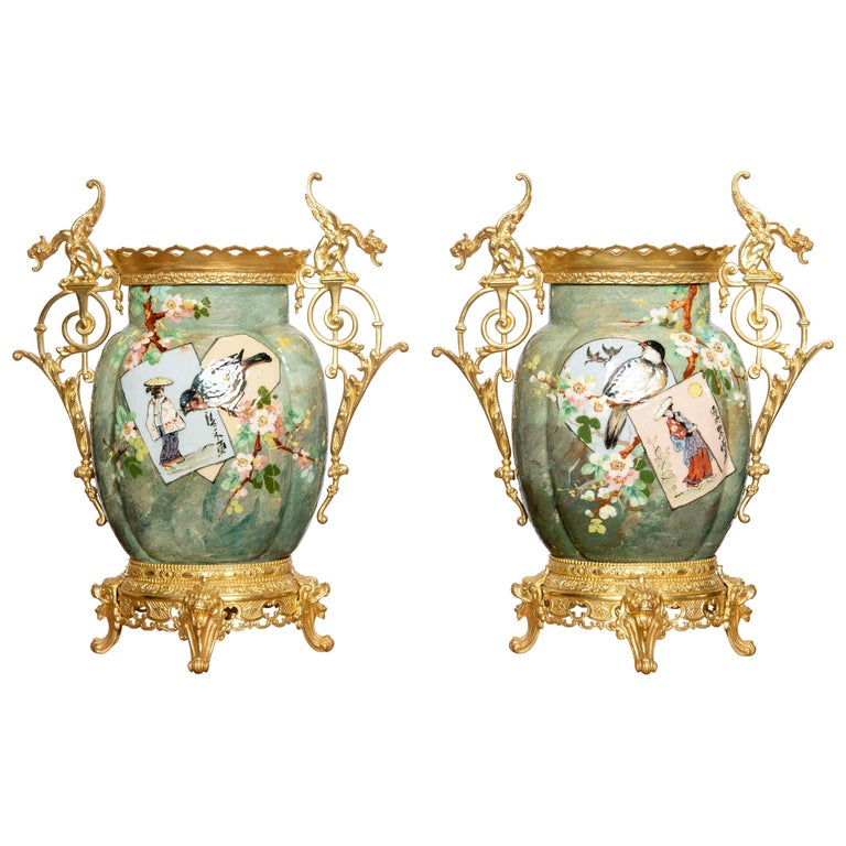 Pair of Glazed Ceramic and Gilt Bronze Vases, France, Late 19th Century For Sale