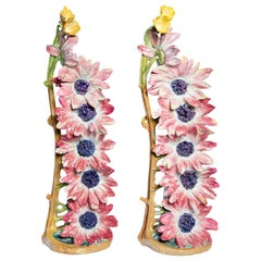 Pair of Glazed Ceramic Flower Vases by Delphine Massier, France, circa 1890