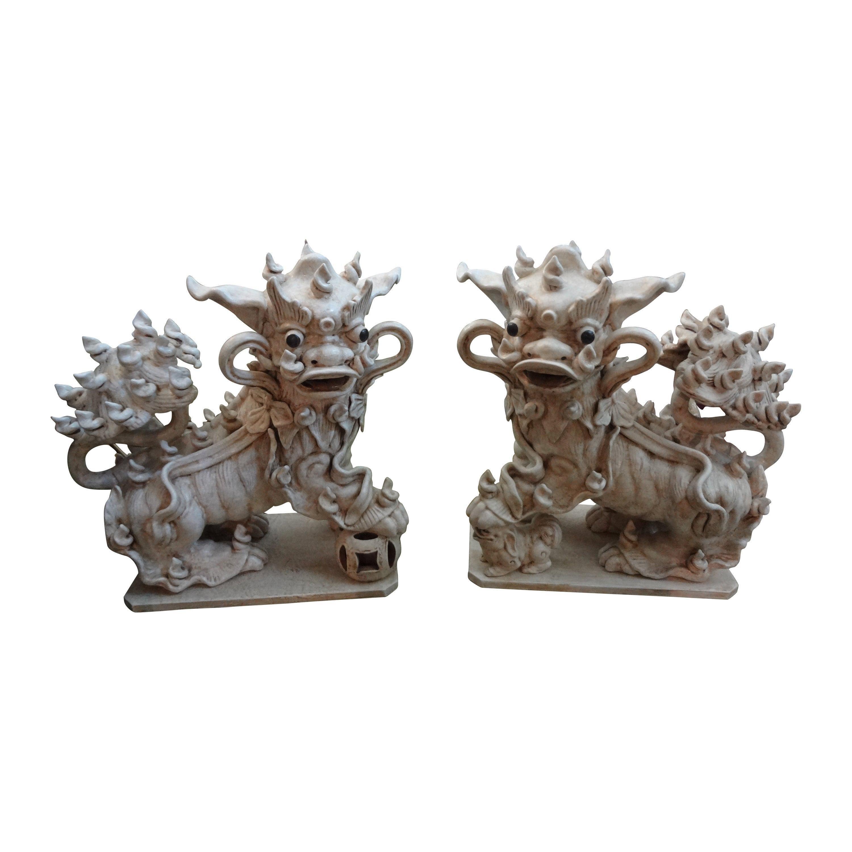 Pair of Glazed Ceramic Foo Dogs