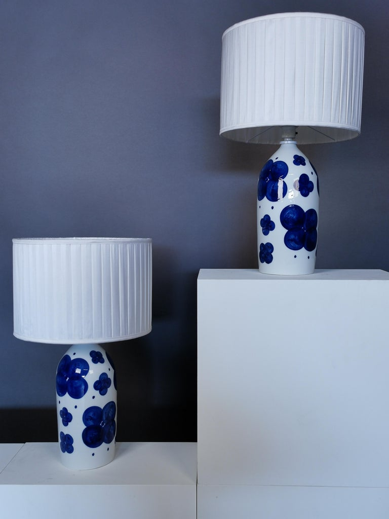 Scandinavian Modern Pair of Glazed Ceramic Table Lamps by Sylvia Leuchovius, Sweden, 1960s For Sale
