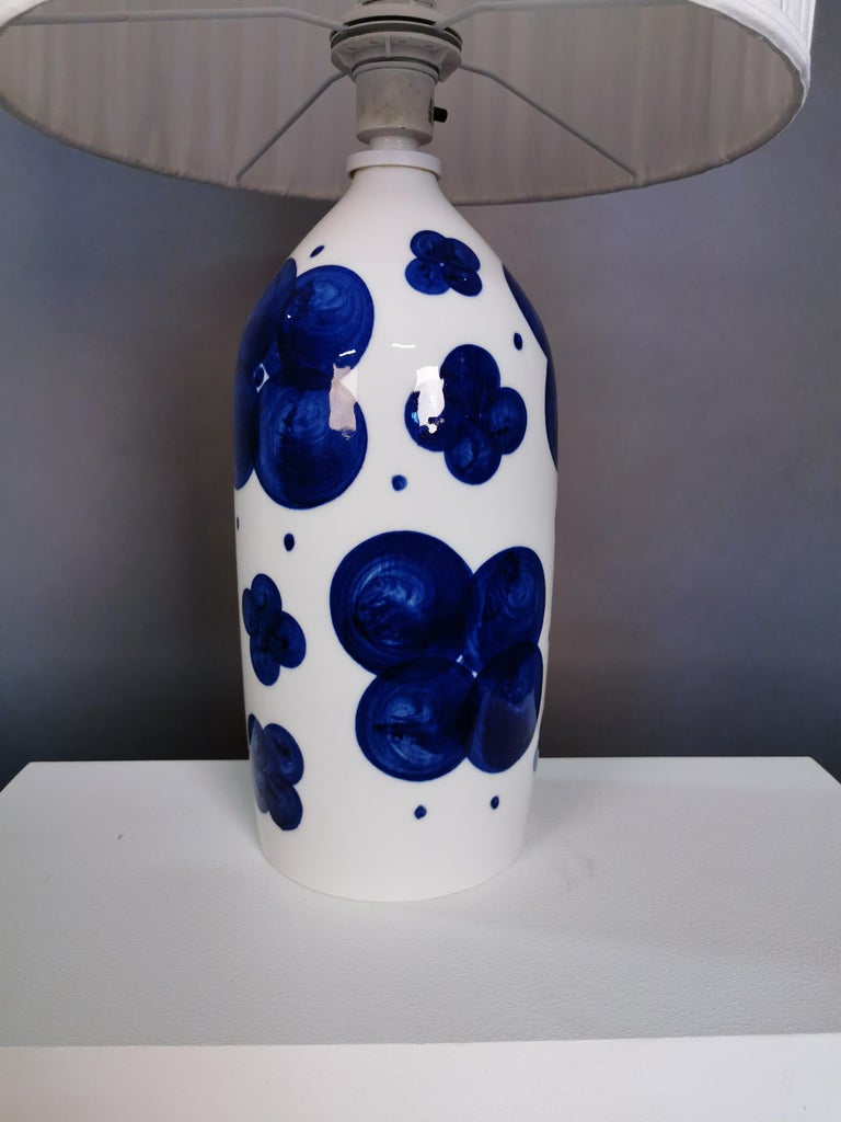 Swedish Pair of Glazed Ceramic Table Lamps by Sylvia Leuchovius, Sweden, 1960s For Sale