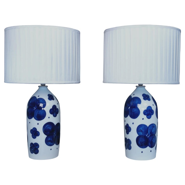 Pair of Glazed Ceramic Table Lamps by Sylvia Leuchovius, Sweden, 1960s For Sale