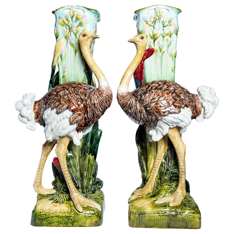 Pair of Glazed Ceramic Vases, France, Late 19th Century For Sale