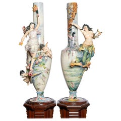 Pair of Glazed Ceramic Vases with Wood Base, France, Late 19th Century