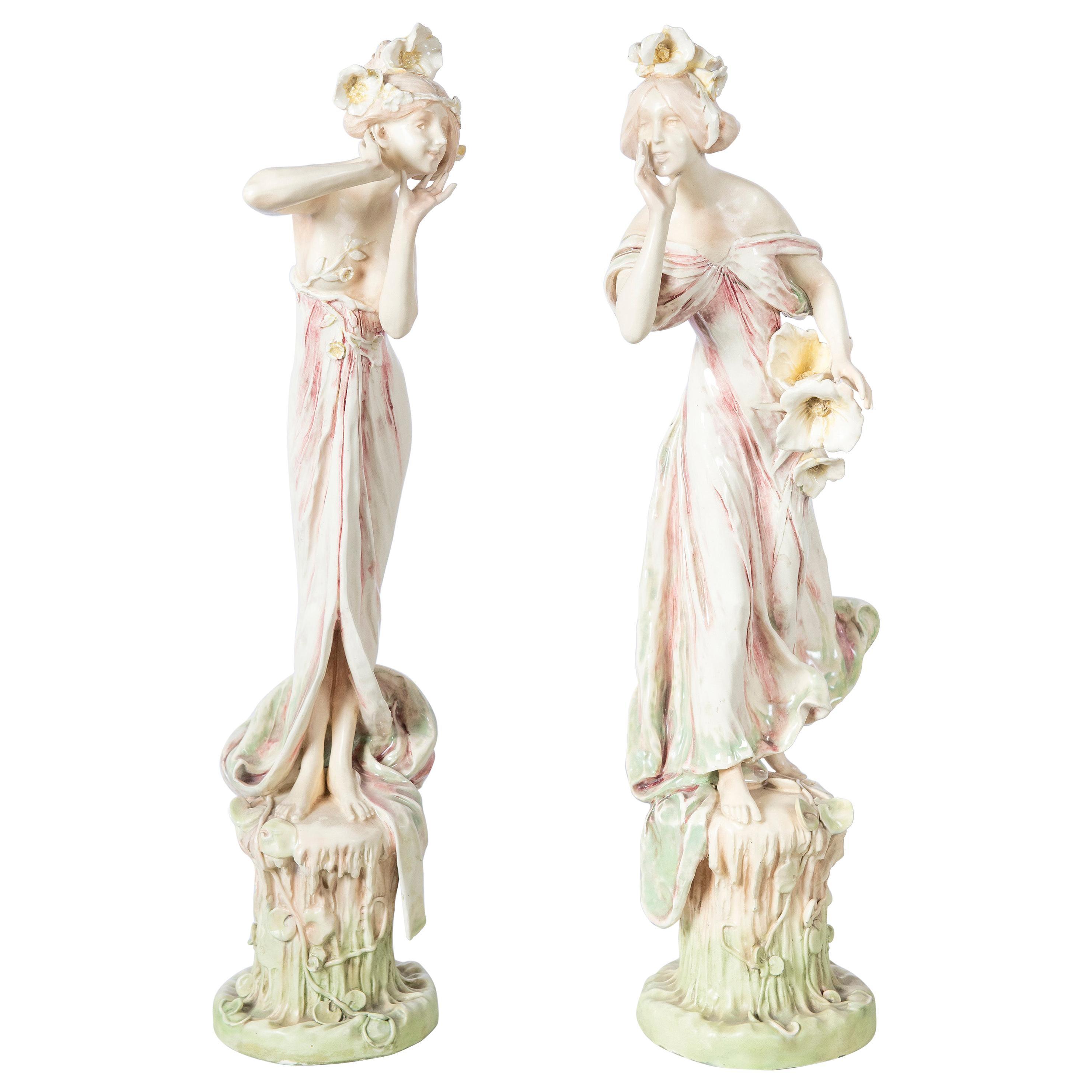 Pair of Glazed Ceramic Woman, Art Nouveau Period, Vienna, circa 1900