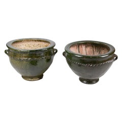 Pair of Glazed Green Ceramic Pots