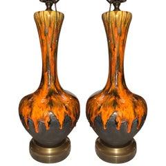 Pair of Glazed Porcelain Lamps