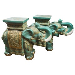 Pair of Glazed Pottery Elephants End Tables