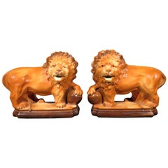 Pair of Glazed Pottery Lions by Lancaster & Son's Ltd., England Circa 1920