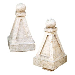 Pair of Glazed Terracotta Architectural Finials