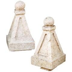Pair of Glazed Terracotta Finials
