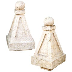 Pair of Glazed Terracotta Finials