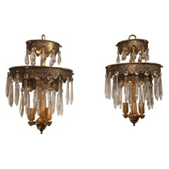 Pair of Glitzy Etched Metal and Crystal Pendant Chandeliers