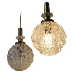 Pair of Globe Pendant Lights in Pressed Glass and Brass, Germany, 1960s