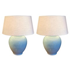 Pale Blue Pair of Globe Shaped Lamps, China, Contemporary