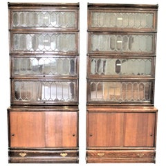 Pair of Globe-Wernicke Oak Stacking Barrister's Bookcases with Leaded Glass