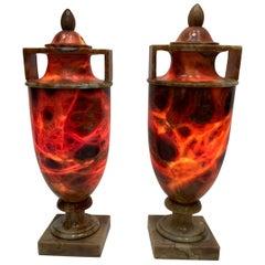 Pair of Glorious Illuminated Italian Alabaster Urn Table Lamps