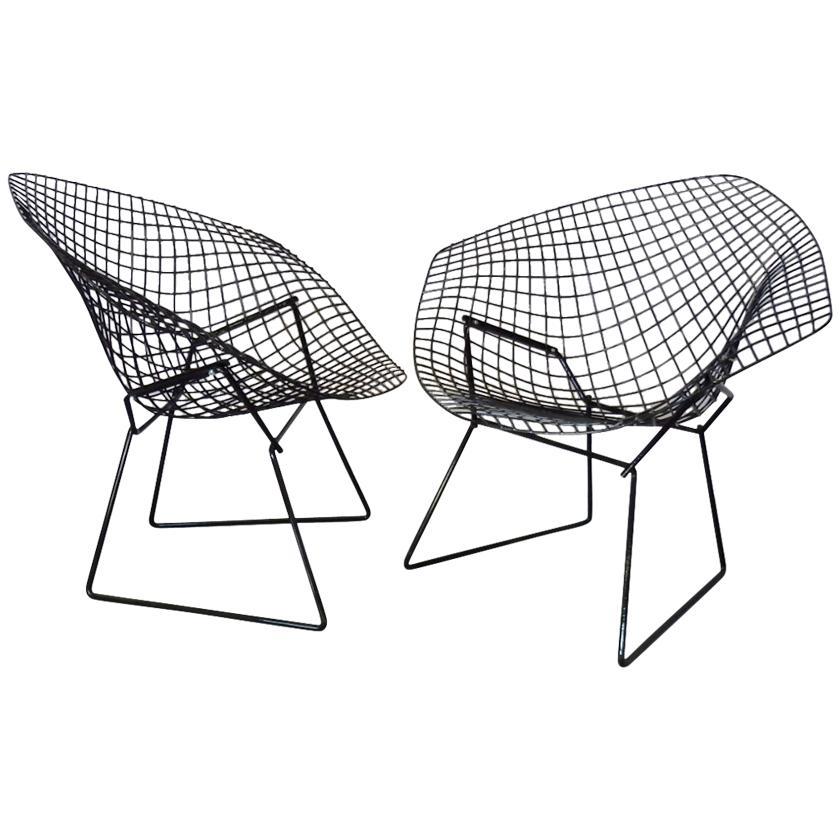 Pair of Gloss Black Harry Bertoia for Knoll Diamond Chairs