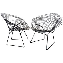 Pair of Gloss Black Harry Bertoia for Knoll Diamond Chairs