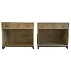 Pair Of Goat Parchment And Walnut Side Tables