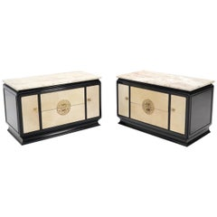 Pair of Goatskin Parchment Front Marble Top Black Lacquer End Tables Nightstands