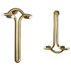 Pair of God and Goddess Brass Sconces by Paul Matter
