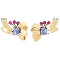 Pair of Gold, 6.5 Carat Sapphire, Cabochon Ruby and Diamond Clip-On Earrings