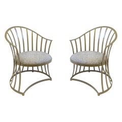 Pair of Gold Aluminum Patio Chairs by Russell Woodard