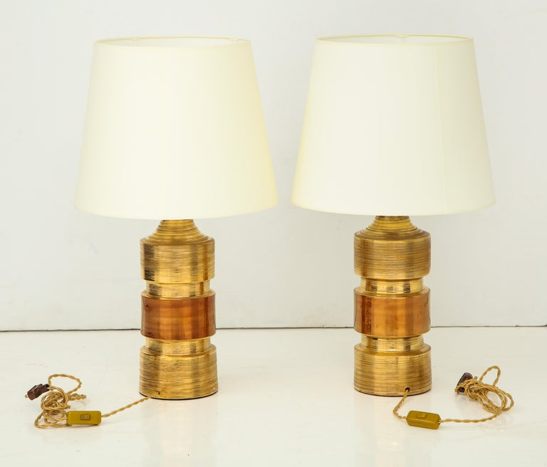 Pair of Gold and Amber Ceramic Bitossi Lamps For Sale 1