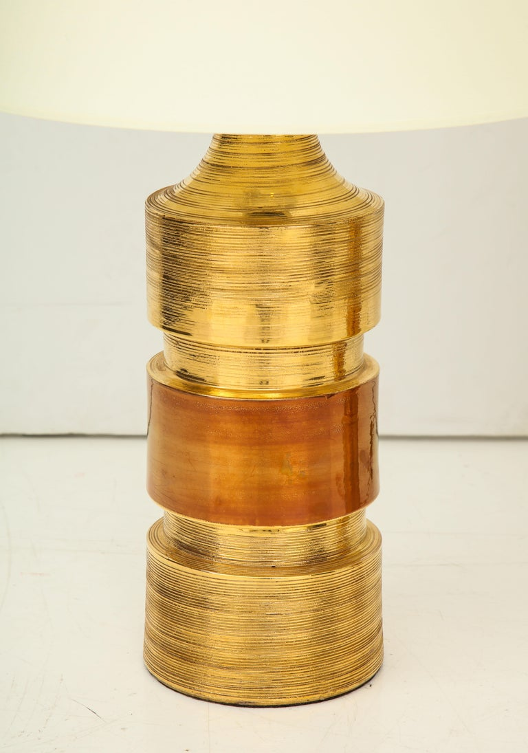 Pair of Gold and Amber Ceramic Bitossi Lamps For Sale 3