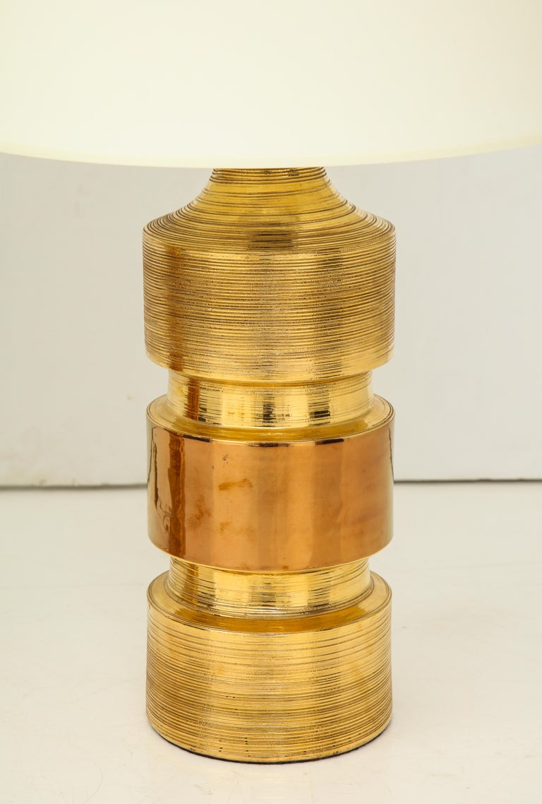 Pair of Gold and Amber Ceramic Bitossi Lamps For Sale 4