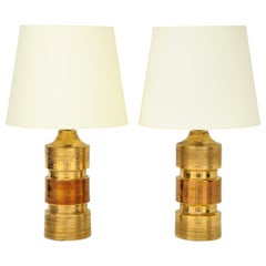 Pair of Gold and Amber Ceramic Bitossi Lamps