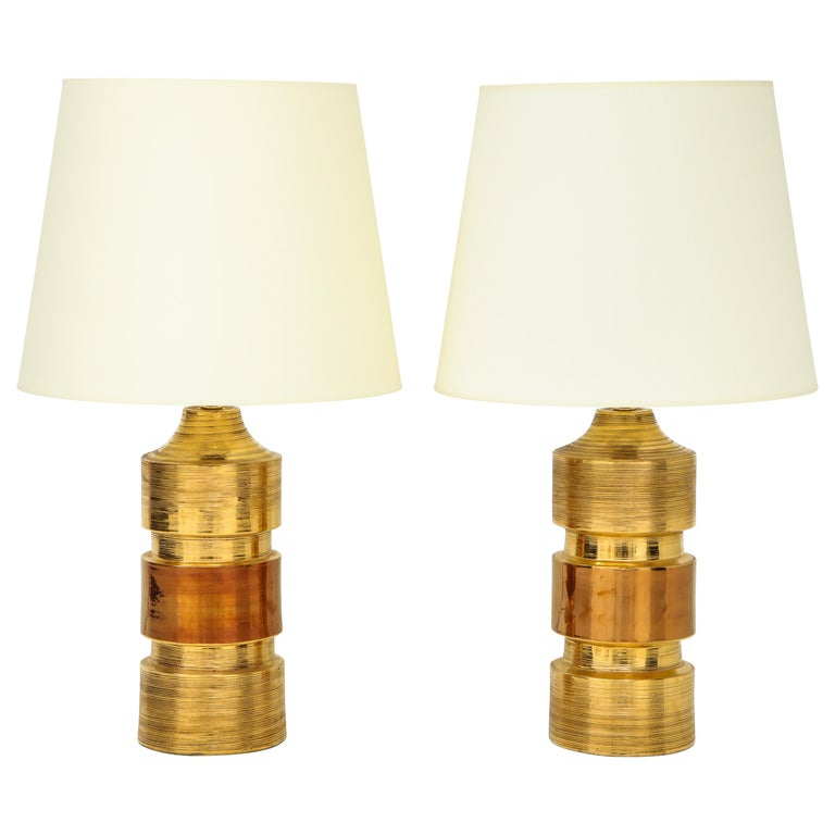 Pair of Gold and Amber Ceramic Bitossi Lamps For Sale