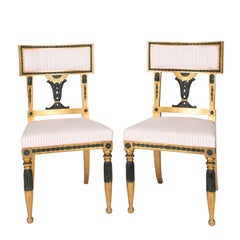 Pair of Gold and Black Painted Gustavian Side Chairs, circa 1900