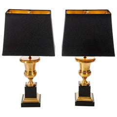 Pair of Gold and Black Vintage Table Lamps