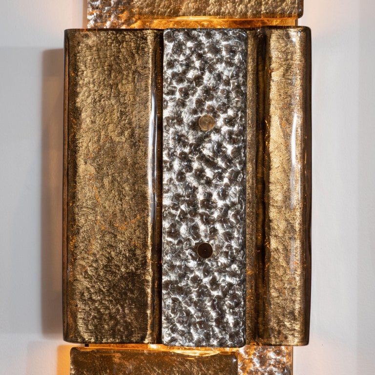 Pair of Gold and Bronze Murano Textured Glass and Brass Linear Sconces, Italy For Sale 4