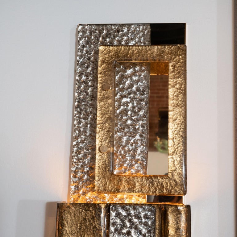 Pair of Gold and Bronze Murano Textured Glass and Brass Linear Sconces, Italy For Sale 5