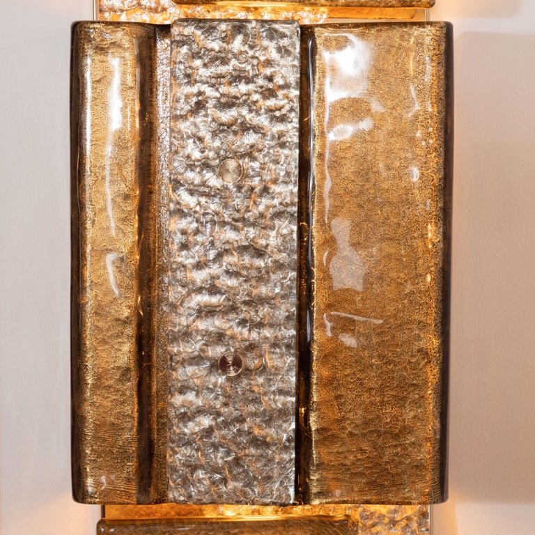 Italian Pair of Gold and Bronze Murano Textured Glass and Brass Linear Sconces, Italy For Sale