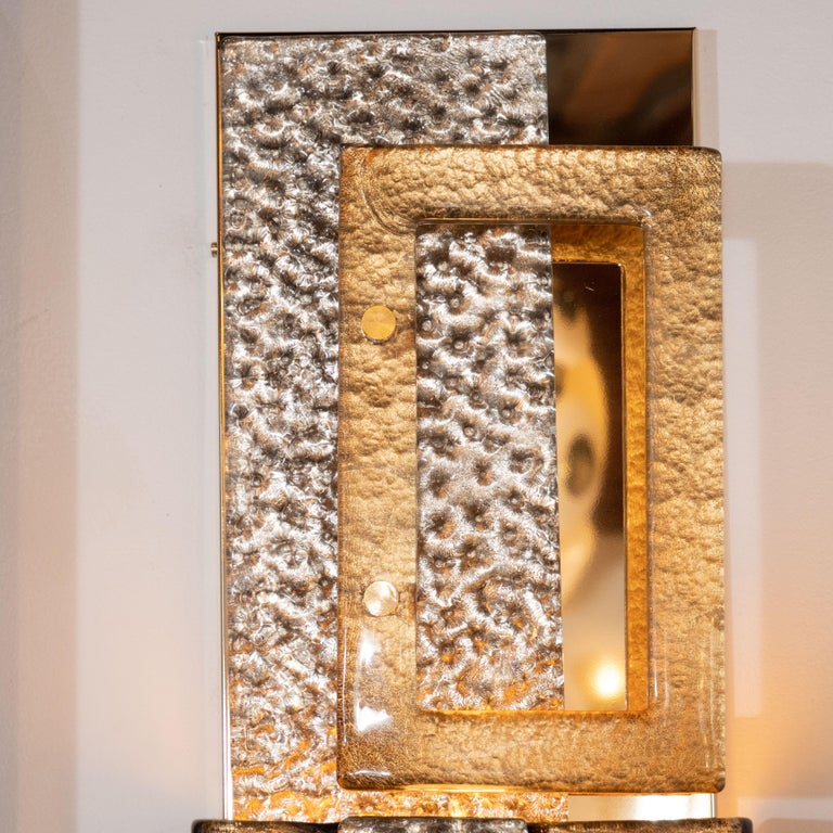 Hand-Crafted Pair of Gold and Bronze Murano Textured Glass and Brass Linear Sconces, Italy For Sale
