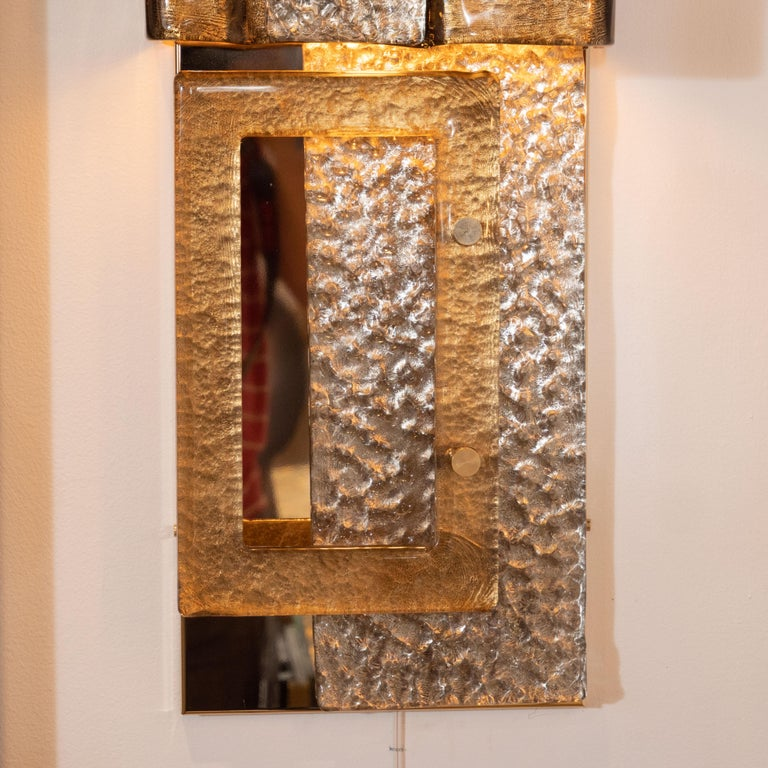 Pair of Gold and Bronze Murano Textured Glass and Brass Linear Sconces, Italy In New Condition For Sale In New York, NY
