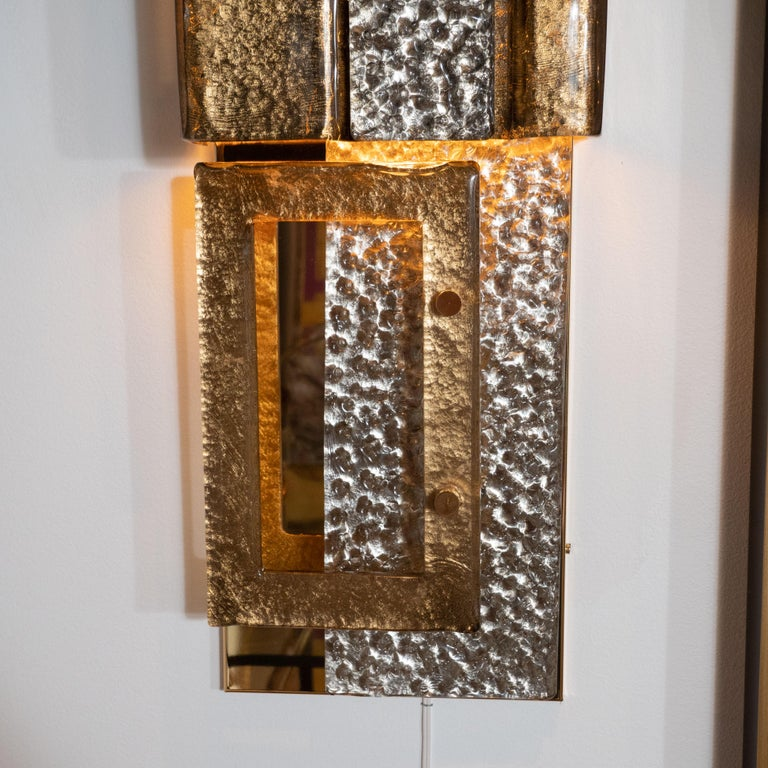 Pair of Gold and Bronze Murano Textured Glass and Brass Linear Sconces, Italy For Sale 3
