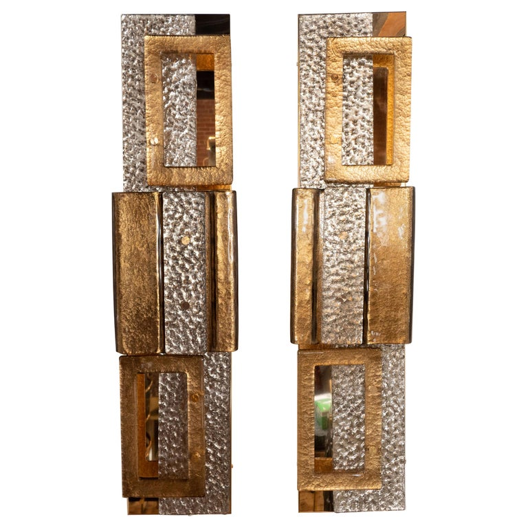 Pair of Gold and Bronze Murano Textured Glass and Brass Linear Sconces, Italy For Sale