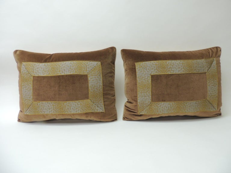 Vintage pair of gold and brown Art Deco style silk velvet French silk ribbon decorative Bolster pillows pair of gold and brown Art Deco style French silk ribbon decorative bolster pillows. French gold and silk Art Deco ribbon applied onto antique